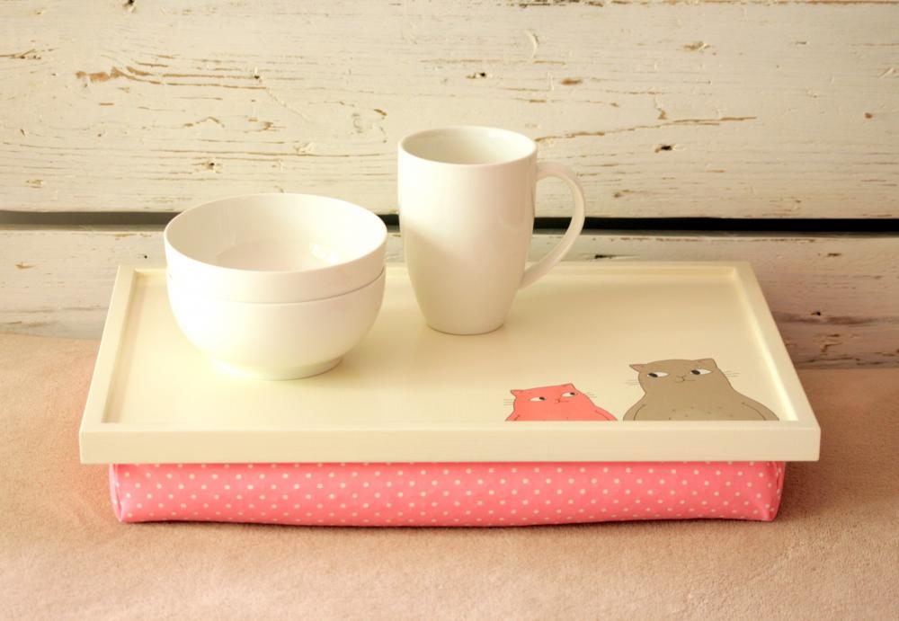 Laptop Lap Desk or Breakfast serving Tray - Hand painted Two Cats and Mouses with Pink Polka Dot Pillow- Custom Order