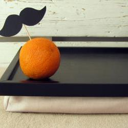 Large Mustache and an Orange - Pillow tray- Custom Order